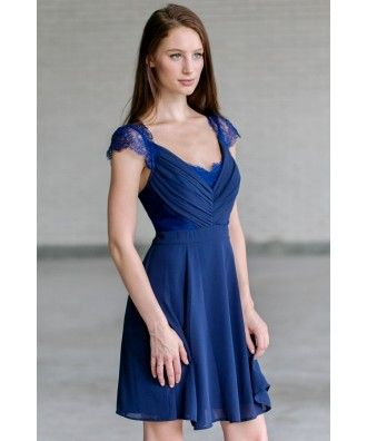 Navy bridesmaid dress, cute navy party dress for juniors Lily Boutique