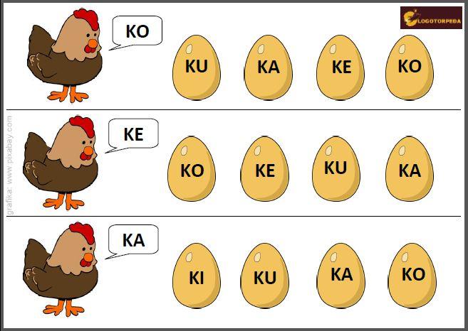 Karta pracy, którą wykorzystasz na różne sposoby: 1. Utrwalanie wywołanej już głoski tylnojęzykowej K; 2. Czytanie sylab paradygmatu KA; 3. Stymulacja wzrokowa, polegająca na wskazaniu takiej samej sylaby. Podoba się? Pobierz kartę TUTAJ:  Pobierz pomoc logopedyczną, wydrukuj i wykonuj różne ćwiczenia, zachęcając Malucha do czytania, powtarzania, wskazywania i łączenia takich samych sylab! Ciekawym pomysłem…