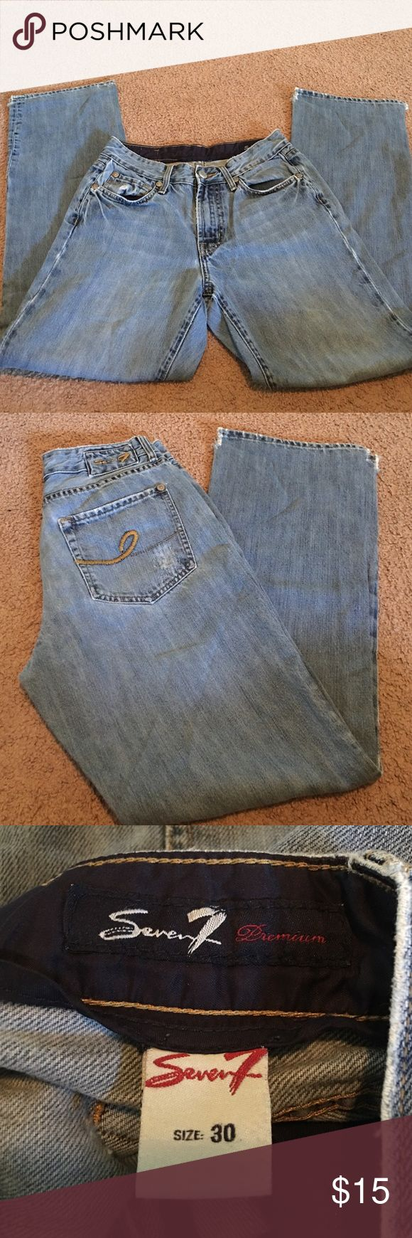 Men's Seven Jeans 30x31 Excellent Condition Awesome pair of men's Seven Jeans Size 30 Waist with inseam of 31 bottom of pant legs have sides cut a bit to fit over boots Seven7 Jeans Bootcut