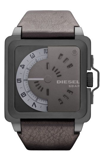 Free shipping and returns on DIESEL® 'Call Sign' Leather Strap Watch, 45mm at Nordstrom.com. An innovative design defines a square-case watch with cool circular dials that rotate to display the hour and minutes. The textured leather strap tapers for a comfortable fit.
