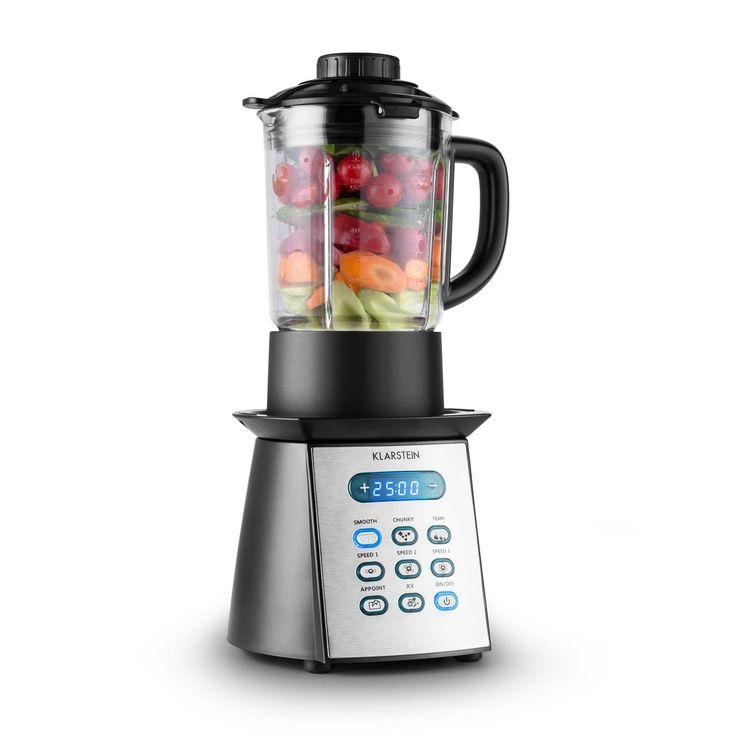Klarstein Soup-Chef Multifunktions-Suppen-Mixer Glas Standmixer mit Kochfunktion (900W Suppenkocher, 8 Programme, 3 Geschwindigkeitsstufen, Timer, 1,75-Liter, Crushed-Ice) schwarz