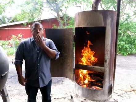 Cooking Channel's Man Fire Food explores some of the coolest ways people cook with fire, from small campfires to giant custom-made grills and smokers. Flip through photos of Chef Roger Mooking's fiery adventures in the American South.
