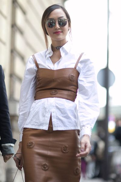 Leather Bustier and Pencil Skirt - Ridiculously Chic Street Style at Paris Fashion Week - Photos