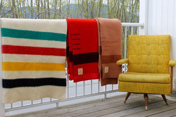 Hudson Bay Blanket Vintage 4 Points Wool by NotMadeInChinaFinds