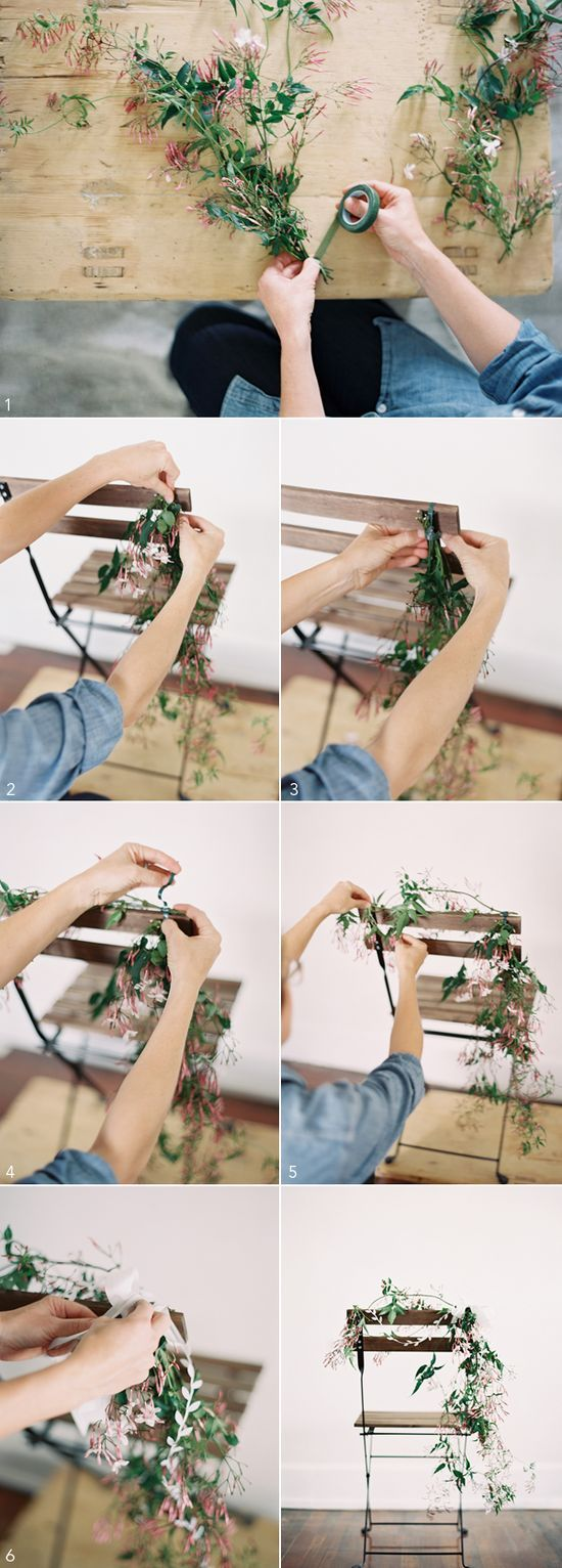 DIY Chair Wedding Garland | Photography by Odalys Mendez , Styling by Ginny Au, Flowers by Rosegolden