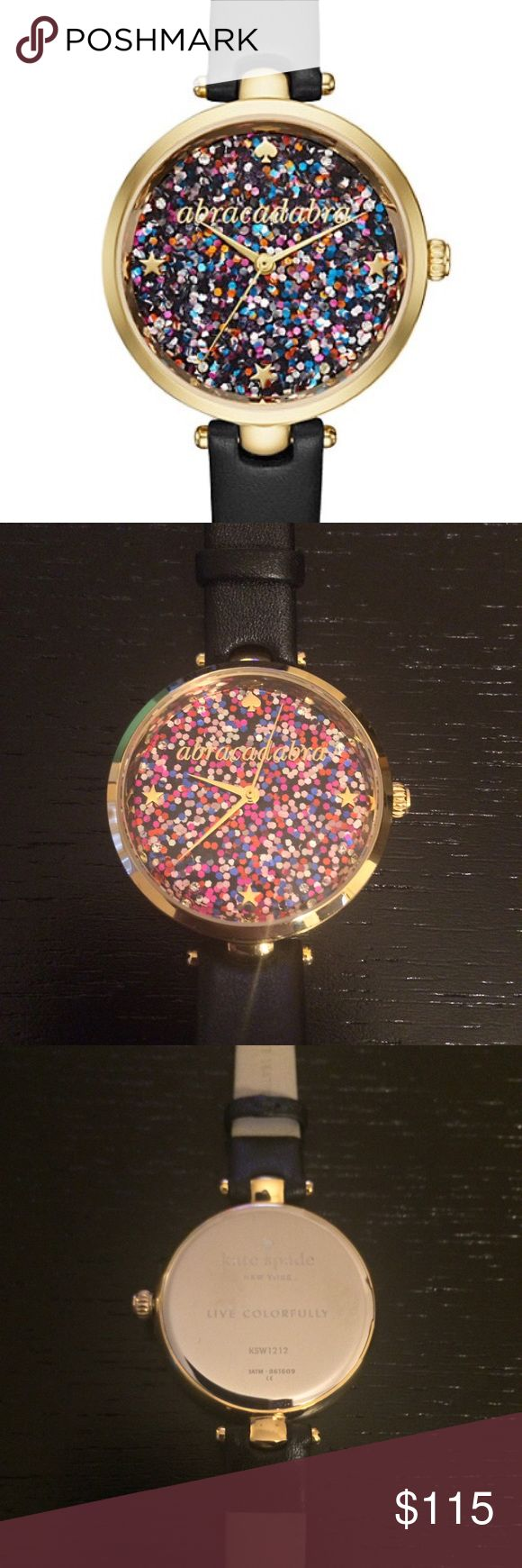 """Kate Spade Abracadabra Holland Skinny Watch Great condition, only worn a few times! Kate Spade Abracadabra Holland Skinny Watch. So cute!  Originally $195, selling for $115!  DESCRIPTION  add a little magic to every day. the gold-tone kate spade new york holland watch gleams with a multicolored glittering dial with """"abracadabra"""" in gold-tone script, star and crystal indexes and a sleek black leather strap.   MATERIAL shiny stainless steel with black strap FEATURES glossy gold dial water…"""