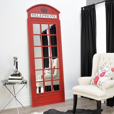 Red British Phone Booth Mirror 83 Inches Tall by 29 Inches Wide for $550.00 Call 401-396-9806 Local delivery only