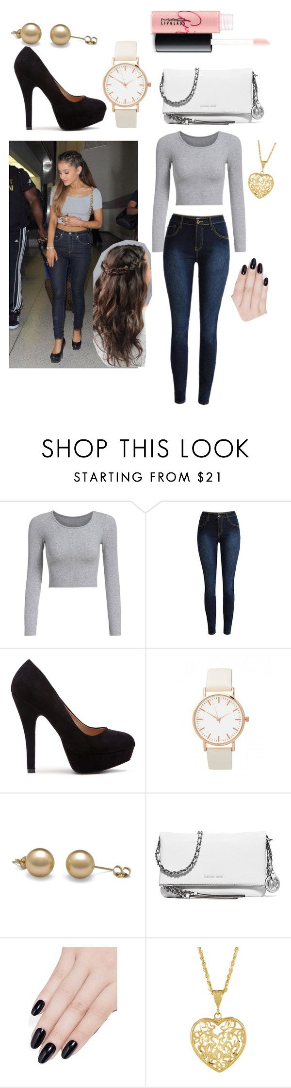 """〰Ariana grande casual"" by picking-petals ❤ liked on Polyvore featuring MICHAEL Michael Kors, ncLA and MAC Cosmetics"