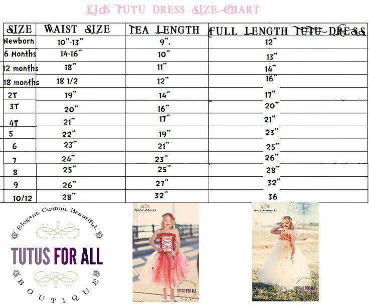 Tutu Size Chart Waisy Tea Length And Full Measurements For Newborn Years