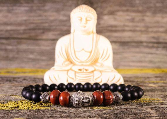Буддийский браслет, серебряный будда, мужские браслеты, будда браслет, подарок для мужчин, черный драгоценный камень, энергии браслет, матовый черный оникс,