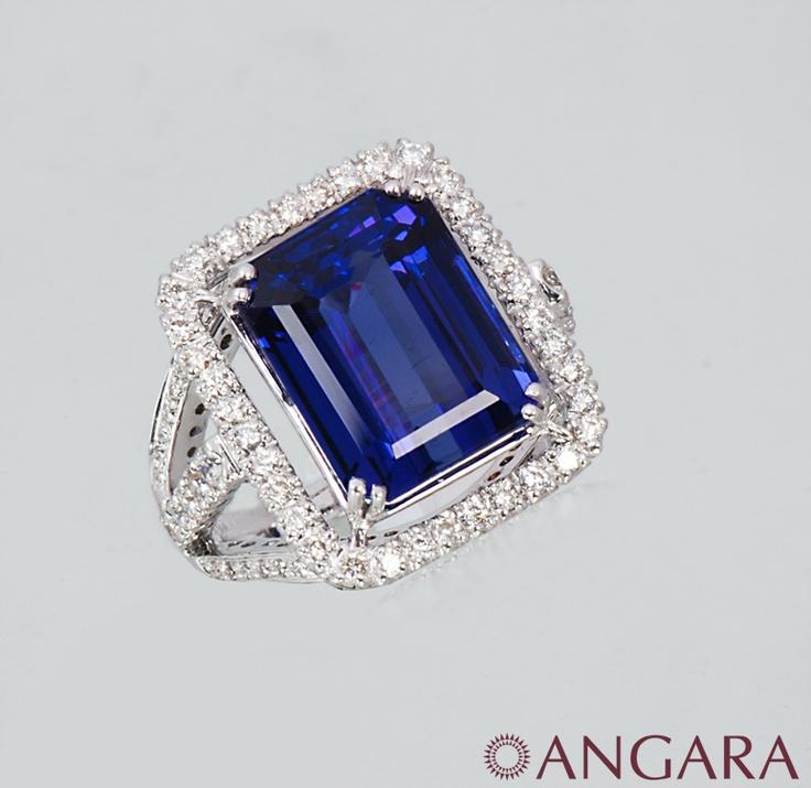 Angara Diamond Framed Cushion Tanzanite Scroll Patterned Ring GgR5K4H