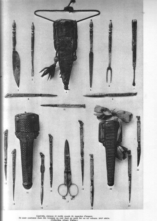 Various tools of tailors. The tools illustrate the flexibility of the tailor to make and do anything.  Scissors and tool cases
