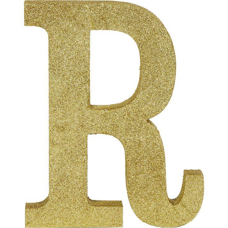 Glitter Gold Letter R Sign Image 1 Gold letters, Letter
