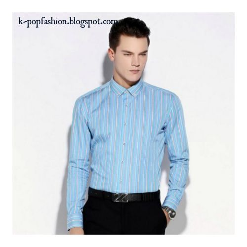Men long sleeve cotton striped shirt