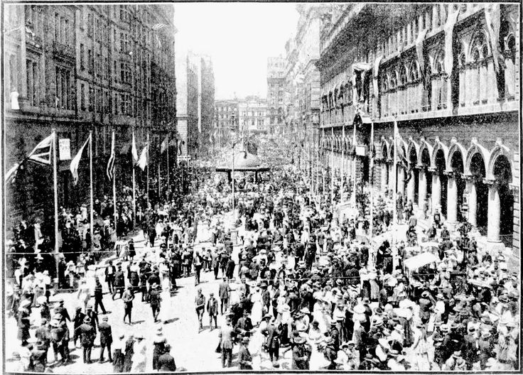 Snapshots of Street Scenes in Sydney Following the Official News of the Armistice - November 1918 - Martin-place, Sydney