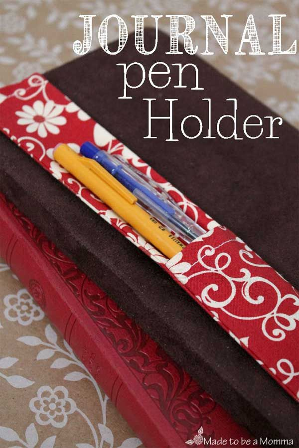 Can you never find a pen or pencil when you need one? This fabric pen holder is a great idea for keeping your pens or pencils attached to your journal or n