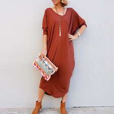 Celeb Women V Neck Batwing Sleeve Asymmetric Hem Loose Oversized Dress Plus Size