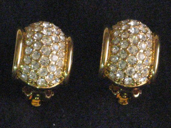 Designer Signed Swarovski Gold Tone Clip Earrings Pave Set Crystals Vintage 1970 S These Sparkle With The Wow Factor Lo