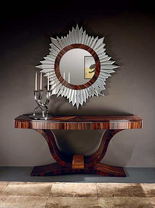 Art Deco Luna Console Entry table and mirror, 1930's
