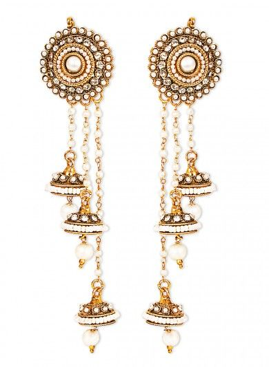 Long String Jhumka Earrings With Imitation Pearls
