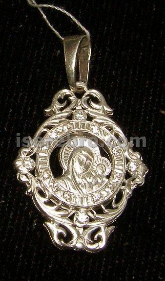Серебряная иконка со вставкой из циркония - 220 грн. цирконий вес 3,74 подвеска