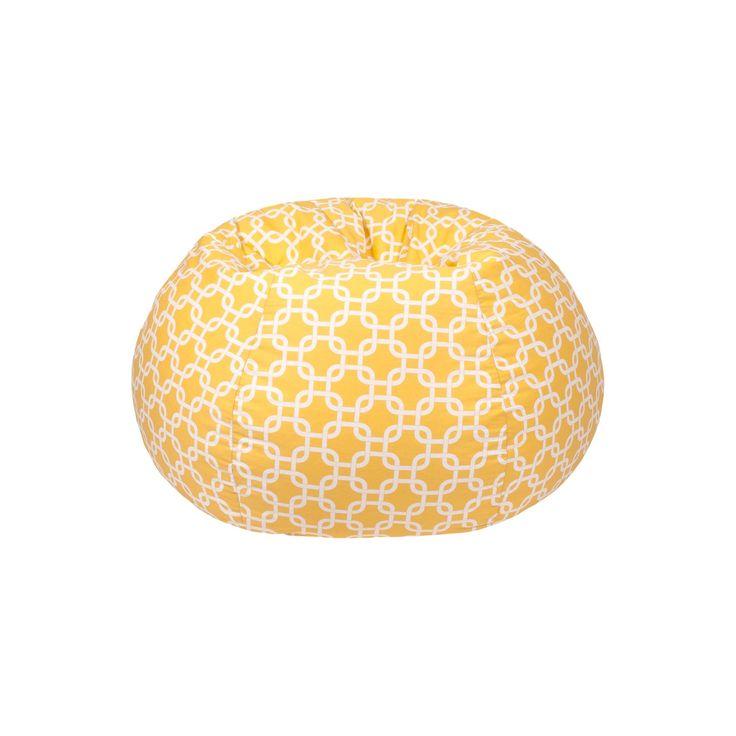 Medium Gotcha Hatch Print Pattern Bean Bag Chair - Yellow - Gold Medal, Pastel Yellow