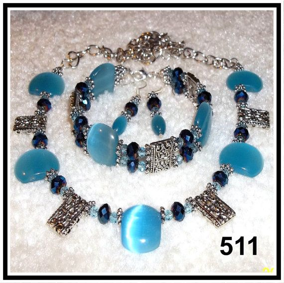 Blue Mexican Opals Crystals & Tibetan Silver 3 by CrystalsAndLight, $35.00