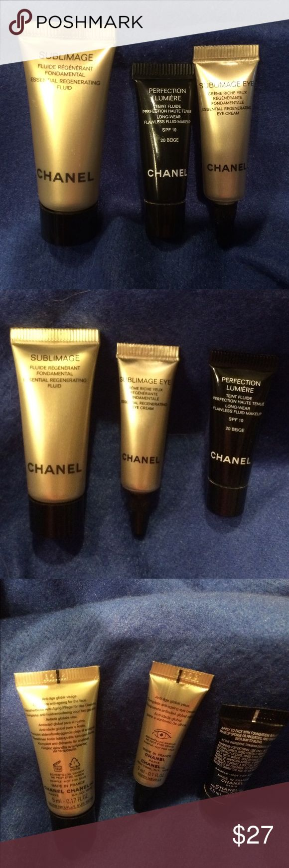 💙Chanel Travel Sized Cremes and Makeup💙 Brand New, Never Opened                 💜Chanel Sublimage                 Essential Regerating Fluid 5ml/0.17fl.oz              💜Chanel Sublimage Eye Cream,   Essential Regenerating Eye Creme, 3ml/0.1fl.oz.                                           💜Chanel Perfection Lumiere Longwear Flawless Fluid Makeup           SPF 10   #20 Beige   2.5ml/0.08fl.oz       💜💙💜💙💜💙💜💙💜💙💜💙💜 CHANEL Makeup #flawlessmakeup