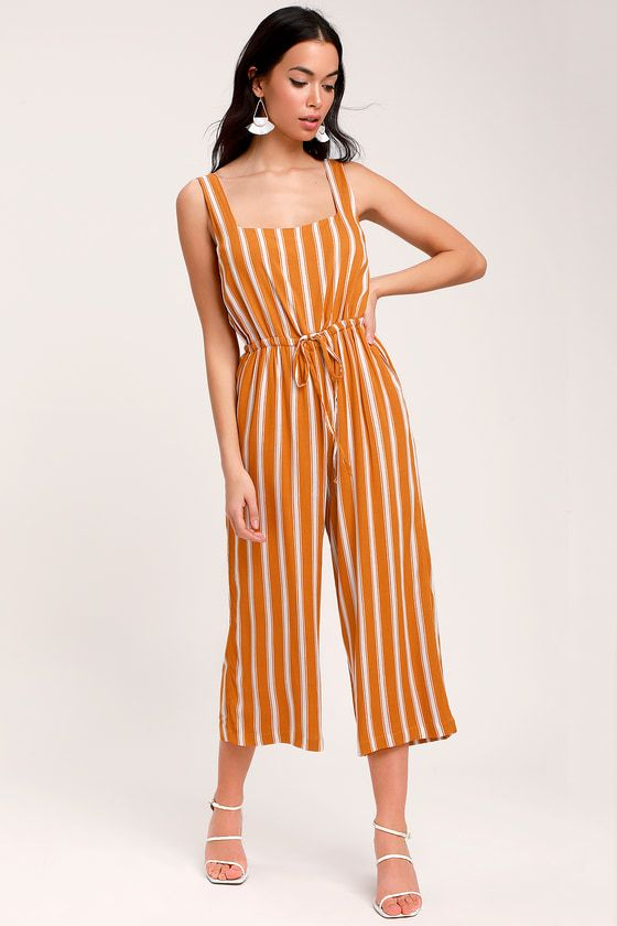 057195cec9a Lulus Exclusive! Feel the sun on your shoulders in the Lulus In the  Sunshine Burnt Orange and White Striped Culotte Jumpsuit! Lightweight woven  fabric