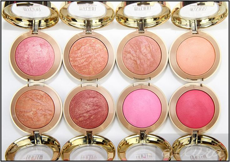 Milani Baked Powder Blushes in Dolce Pink, Rose D'Oro, Berry Amore, Luminoso, Bellissimo Bronze, Red Vino, Delizioso Pink, and Bella Rosa