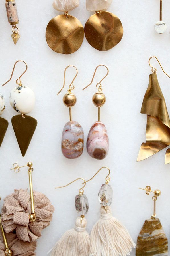 Marble, opal and smoky quartz earrings – casual fall outfit, spring outfit, styl…