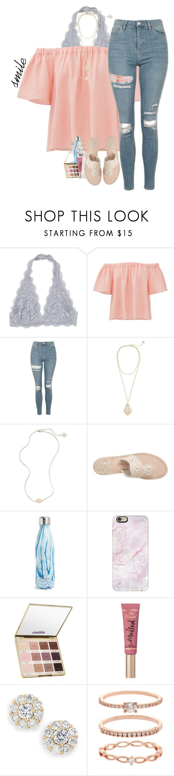 """This weather"" by haileymartin12 ❤ liked on Polyvore featuring Rebecca Taylor, Topshop, Kendra Scott, Jack Rogers, S'well, Casetify, tarte, Too Faced Cosmetics, Kate Spade and Accessorize"