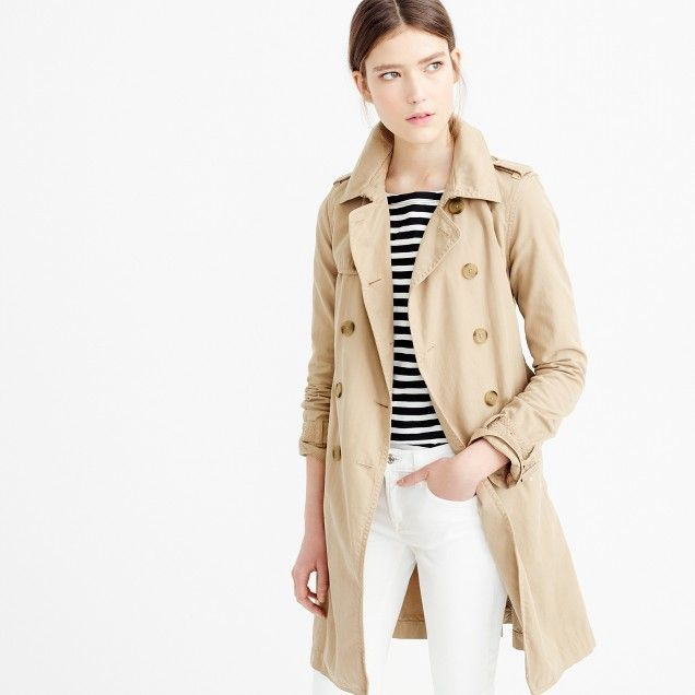Petite trench coat from J Crew. I'm thinking that a trench could be a good purchase to go from now into Spring...