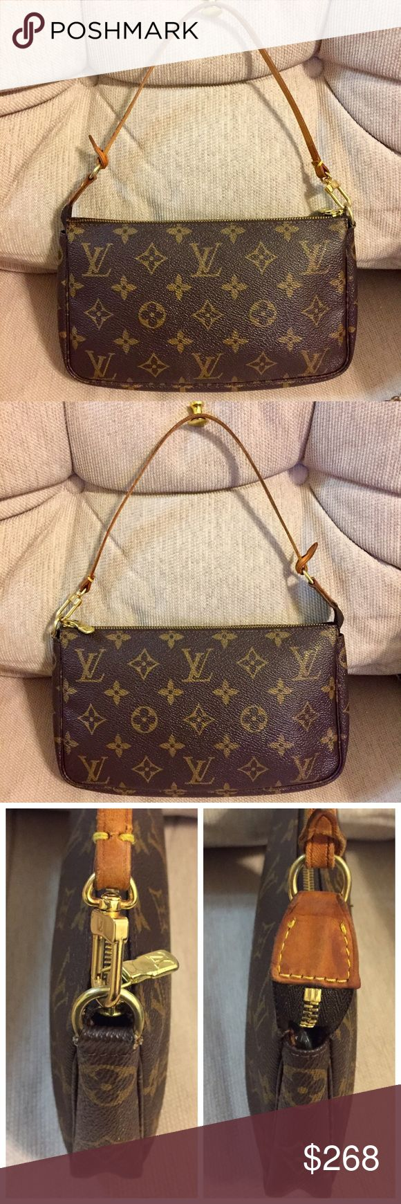 "Louis Vuitton Pochette Accessoires 100% Authentic Made in France Date Code:AR 0060 Size: W8.25xH5xD1""  Monogram leather is in good condition. No stains/ tears. Vachetta tab has developed to a rich patina, shows darkening, wear, scratches. Strap has creases, uneven color and cracks but strong usable. With NEW crossbody chain strap (unbranded). Hardwares have minimal tarnish. Zipper works properly. Lining is clean. Minor storage smell. No LV dust bag. Free non LV dust bag. ❌ TRADE. Louis…"