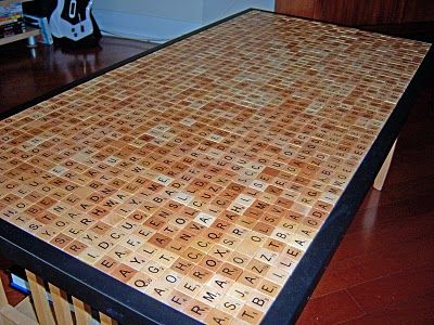 I love the idea of covering coffee tables with hidden messages & scrabble tiles...