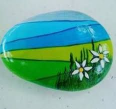 Hillside daisy flower painted rock