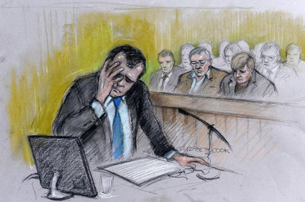 Court artist sketch of Vincent Tabak