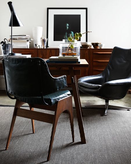 black, white and wood eclectic vintage mid-century modern officeOffices Spaces, Interiors Design, Front Doors, Mid Century, Black White, Danishes Design, Offices At Home, Leather Chairs, Carriage House