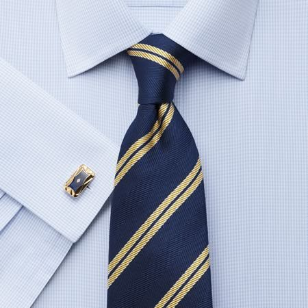 Sky twill puppytooth non-iron slim fit shirt | Men's formal shirts from Charles Tyrwhitt, Jermyn Street, London