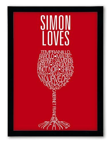 Red Wine - Choose a delicious vibrant background colour and complement the scrumptious, mellow grape varieties with just two lines of personalised text http://www.chatterboxwalls.co.uk/details.php?product=5