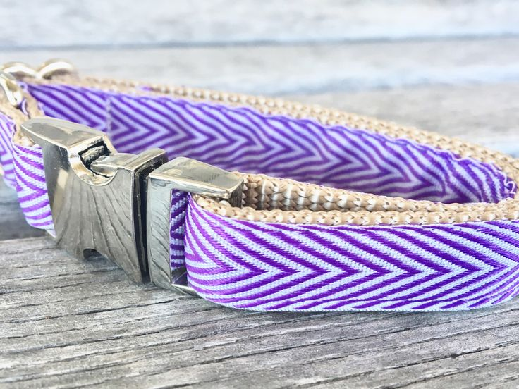 A personal favorite from my Etsy shop https://www.etsy.com/listing/471882494/violet-chevron-58-dog-collar-adjustable