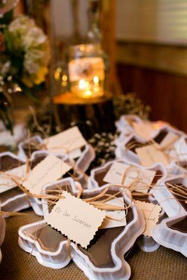 Texas shaped fudge wedding favor! (Photo by Allison Davis Photography)