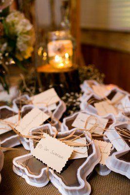 Texas shaped fudge wedding favor! (Photo by Allison Davis Photography)