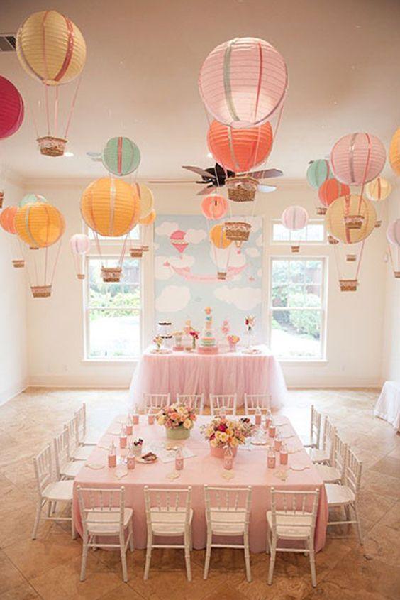 Creativas decoraciones con Lamparas Chinas, crea un cielo de Globos Aerostáticos. Un detalle que gustara a todos tus invitados