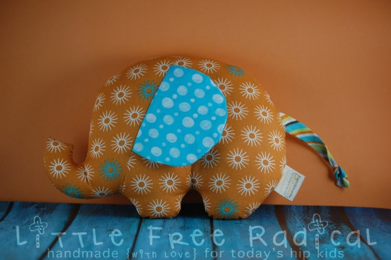 Rusty the Elephant   Small Softie  by LittleFreeRadical on Etsy, $20.00