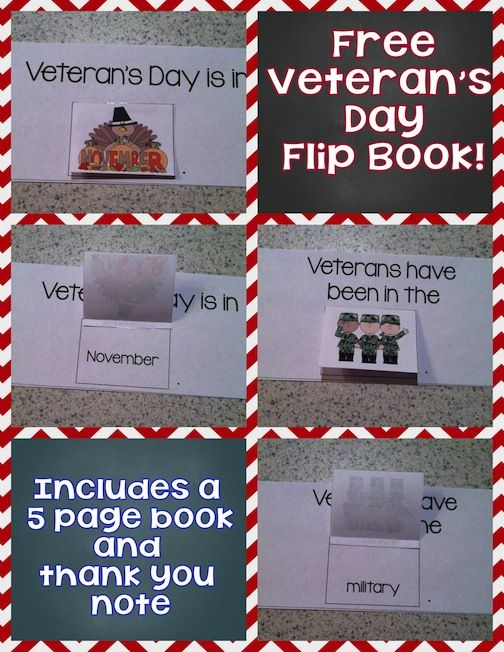 FREE Veteran's Day non-fiction flip book!  Includes a 5 page booklet with flippable pictures and a thank you note template!