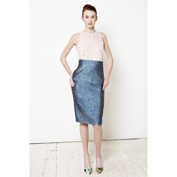 By SUN High Waist Gray Blue Pencil Skirt ($235) ❤ liked on Polyvore featuring skirts, high rise pencil skirt, blue print skirt, high waisted skirts, knee length pencil skirt and gray skirt