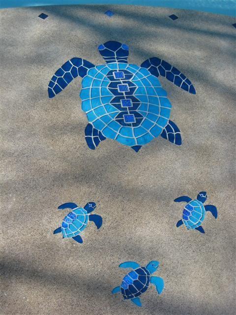 Glass mosaic turtles