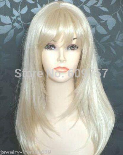 Стиль косплей длинные светлые прямые женщины полный парик синтетического Kanekalon волокна не кружева передние волосы парики бесплатные доставить