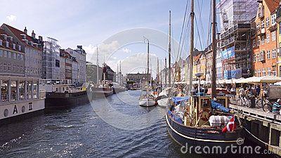 A canal in Copenhagen city, summertime, Denmark.